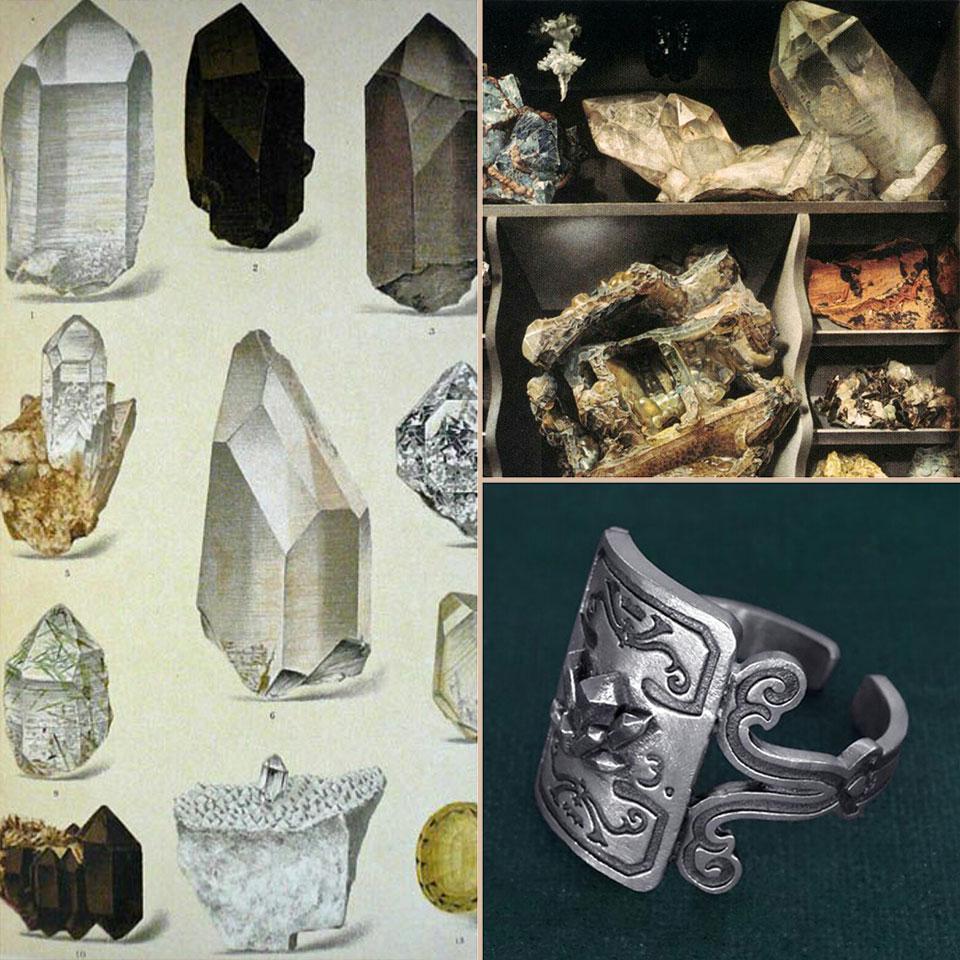 Ambiance de la bague cristal, inspirée des formes des quartz et des collections anciennes de minéraux