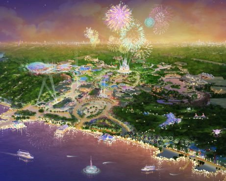 An artist's rendering released in the U.S. by Disney Parks on April 7, 2011 depicts the proposed Shanghai Disney Resort.  Disney Parks officially broke ground on the planned resort in Shanghai on April 8, 2011.