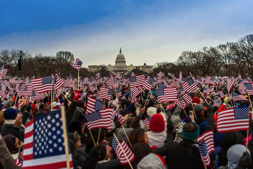 Flags Wave at the 2013 Presidential Inauguration