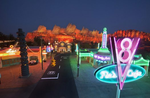 CARS LAND -- The new 12-acre Cars Land and its three new family attractions at Disney California Adventure park will open to the public on June 15, 2012. Cars Land will immerse guests in the thrilling world of the Disney¥Pixar blockbuster ÒCarsÓ film franchise as they step into the town of Radiator Springs. (Paul Hiffmeyer/Disneyland Resort)