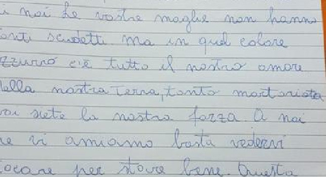 Little Aurora writes a letter to Napoli's players: You are my strength !, moving message (PHOTO)