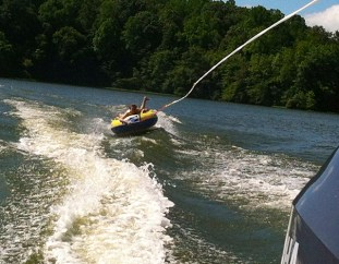 Tubing on a weekend with my family at Lake Anna, VA