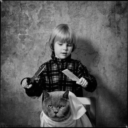 Andy-Prokh, The-Barber-First-Experience, The-Barber, girl-and-cat, black-and-white, black-and-white-photography