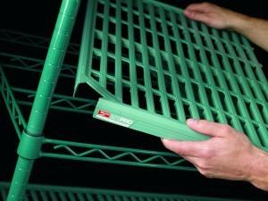 green epoxy slotted shelf