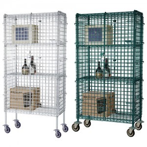 white and green epoxy shelving with security cage front