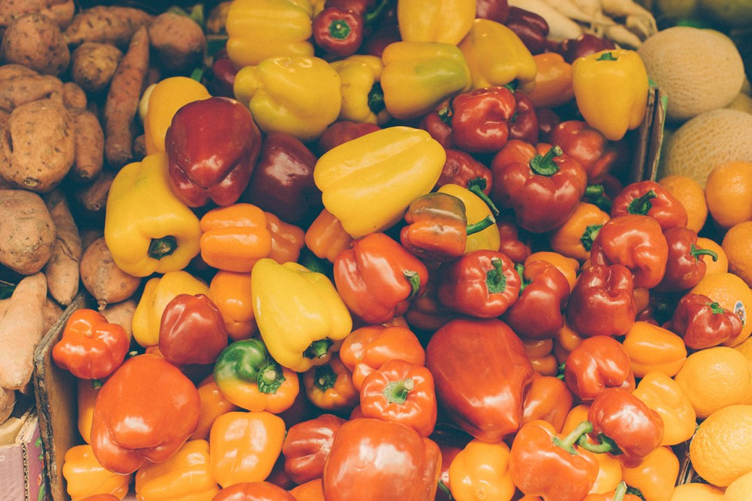 Fresh Peppers in Produce Stand