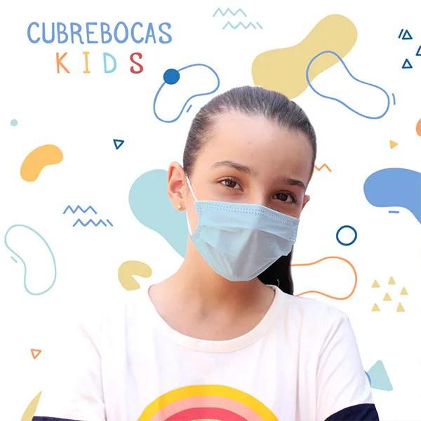 Paquete de 50 Cubrebocas Kids Azul