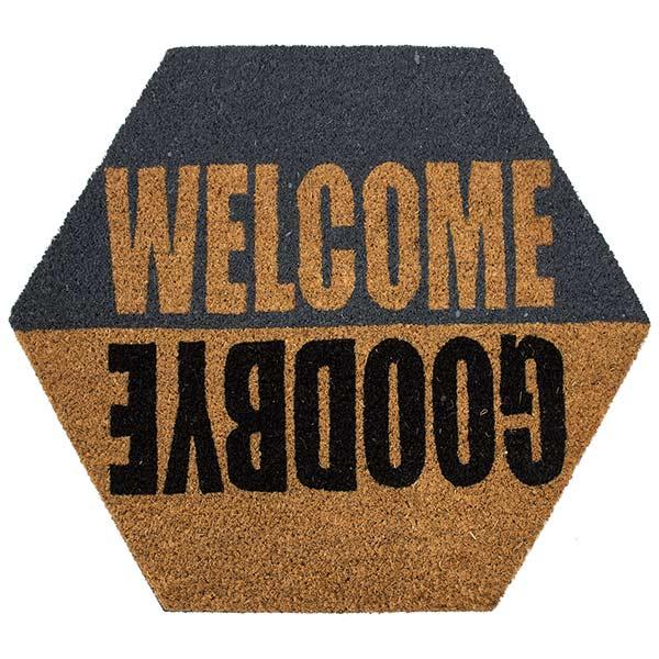 Tapete de entrada Coco Welcome Hexágono 47.6X55 CM
