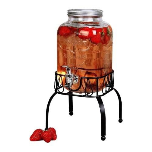 Top Choice 2415-3561 Dispensador De Bebidas Vitrolero Agua Vidrio Con Base Mason Jar Garrafón de Vidrio de 3.8 Litros con Base de Metal