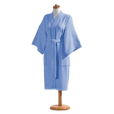 Bata De Baño Unitalla Con Cinta Azul 100% Algodón
