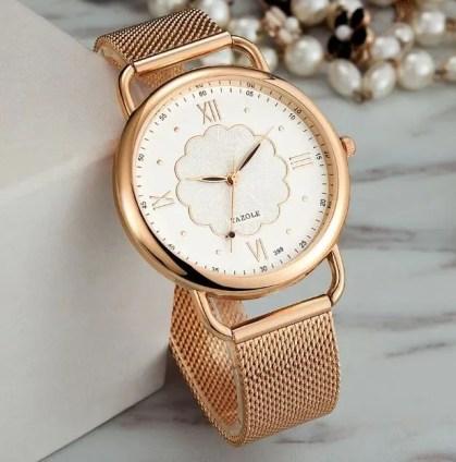 Reloj Para Dama Yazole Mod D399 Elegante Moda Rose Gold