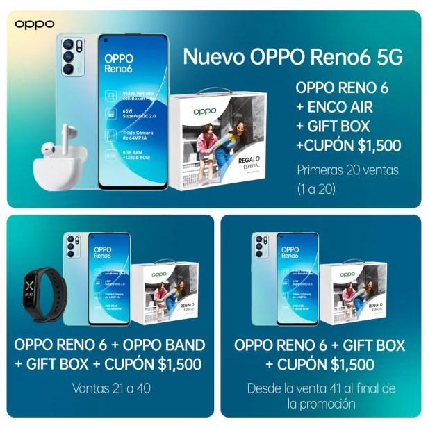 RENO6 5G Aurora Telcel 128gb 65w Carga Súper Vooc ultra delgado triple cámara