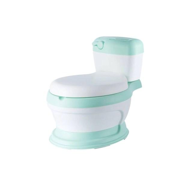 Baño entrenador con asiento acojinado con tapa y recipiente Verde