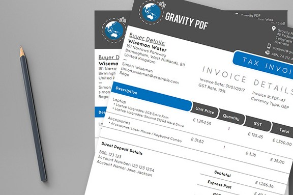 HD Decor Images » Invoice Aurora     PDF Invoice template for Gravity Forms     sleek two tone design  with smooth flowing edges and excellent use of  white space  is perfect for businesses who want to add vibrancy to their  invoices