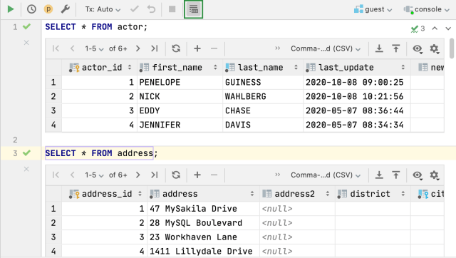 Query results  DataGrip