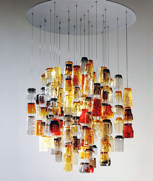 Propellor S Dram Chandelier Recycled Drinking Glasses From The 60 70