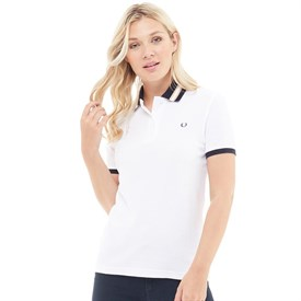 Fred Perry Womens Bomber Stripe Collar Pique Polo White