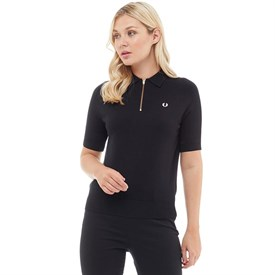 Fred Perry Womens Zip Neck Knitted Shirt Black