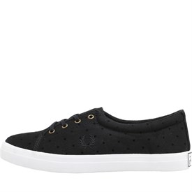 Fred Perry Womens Aubyn Flocked Polka Dot Twill Pumps Black