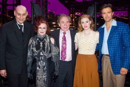 Fred Johanson, Glenn Close, Andrew Lloyd Webber, Michael Xavier and Siobhan Dillon backstage at the opening night of Sunset Boulevard. Photo credit Dan Wooller