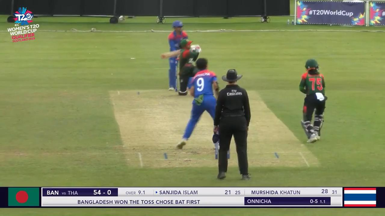 Icc T20wc Qualifier Ban V Tha Sanjida Islam Sweeps One