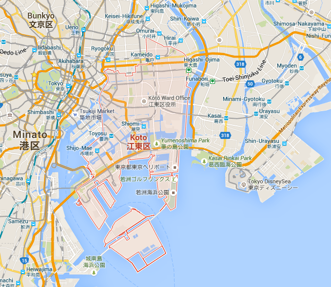 Koto Ward in Tokyo. The average rent here is 112,000yen making it sixth most expensive ward in Tokyo by average rent.
