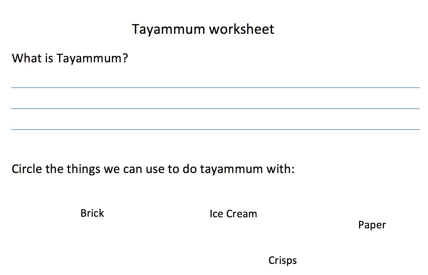 Tayammum Worksheet Safar Resources Beta