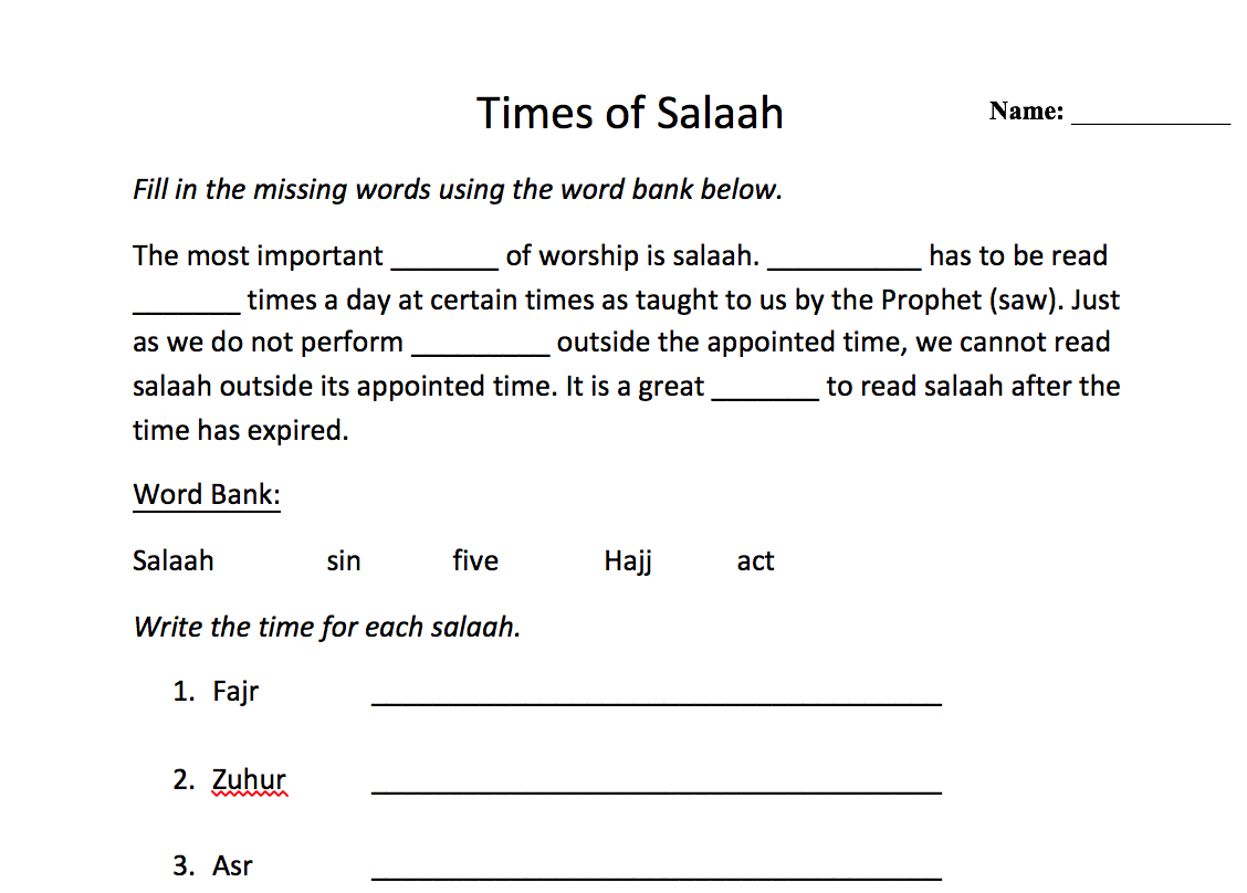 Times Of Salaah Worksheet Safar Resources Beta