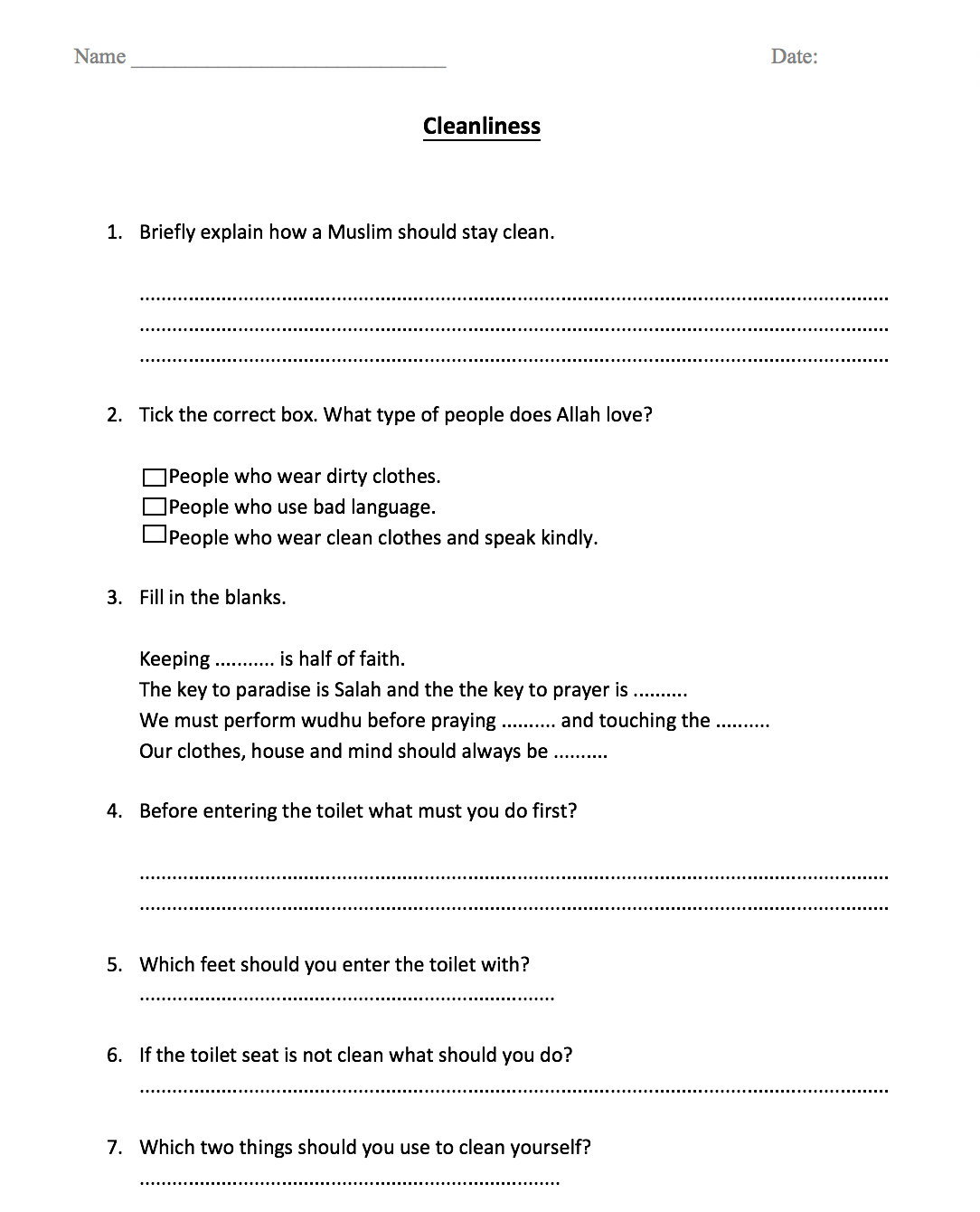 Cleanliness Manners Of Using The Toilet Worksheet