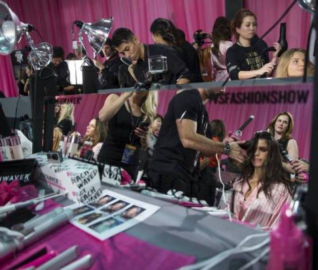 A Model Gets Her Hair Done Backstage Before The Victorias Secret Fashion Show