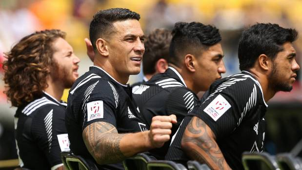 Williams, second from left, playing in the New Zealand sevens side at Westpac Stadium last year. His BNZ protest has ...