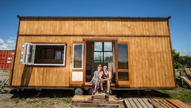 Anna Naygrow and Christoph Riedel started building their tiny house in mid-November.