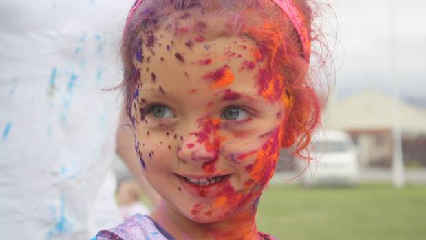 Khloe-Rose Fishburn, of Te Kupenga Preschool, celebrates the Holi festival with a splash of colour.