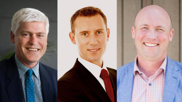 From left, Hamilton West National MP Tim Macindoe, Hamilton East Labour candidate Jamie Strange, and Hamilton East ...