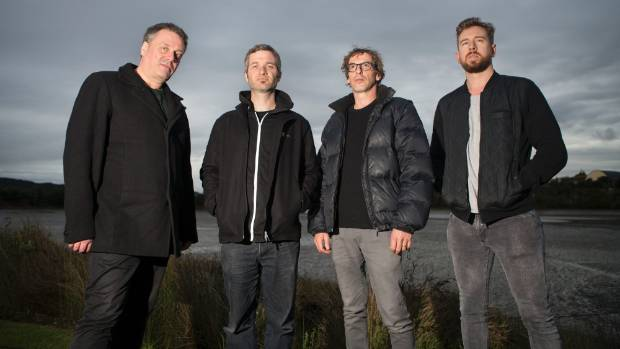 From left: The Chills front man Martin Phillipps in Raglan with bandmates James Dickson, Todd Knudson and Oli Wilson.