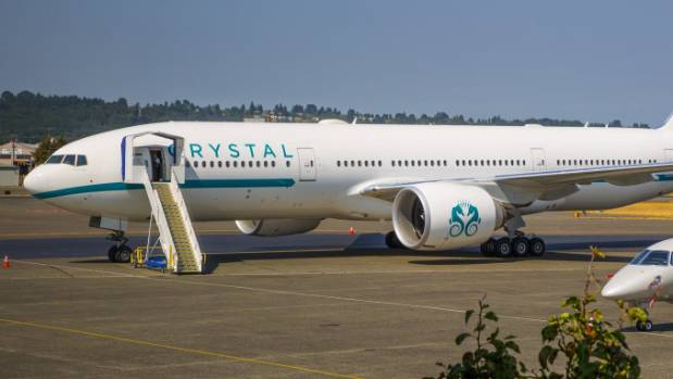 Luxury travel firm Crystal Cruises takes delivery of its first VIP jetliner, a Boeing 777-200LR with its extravagant ...