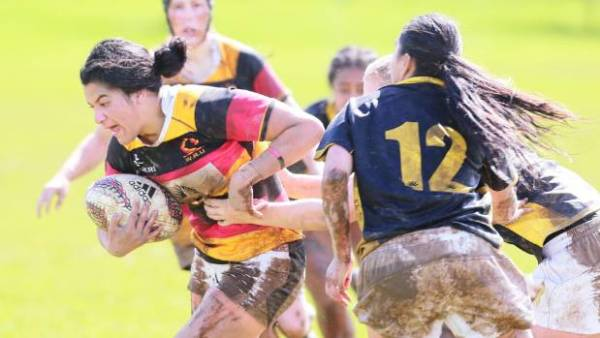 Rina Paraone on the charge for Waikato against Wellington in their Farah Palmer Cup round three match in Hamilton.