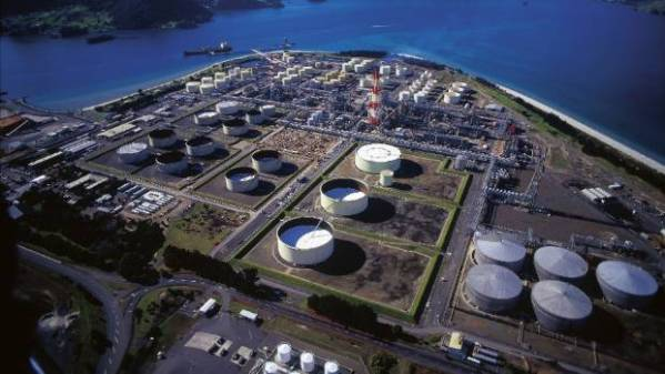 Marsden Point refinery, Ruakaka, Whangarei. The pipeline that supplies fuel to Auckland from the refinery has been cut ...