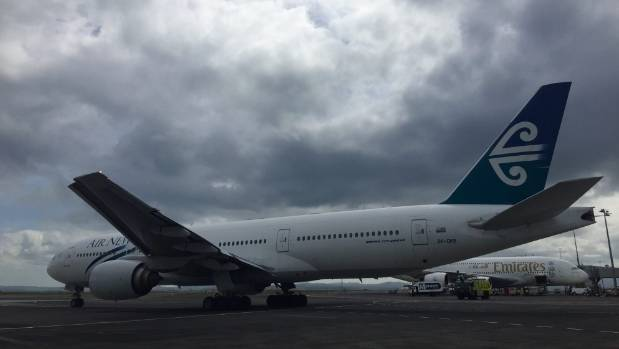 An Air New Zealand 777-200 is flying to Wellington, with only pilots on board. It will then refuel and return to Auckland.