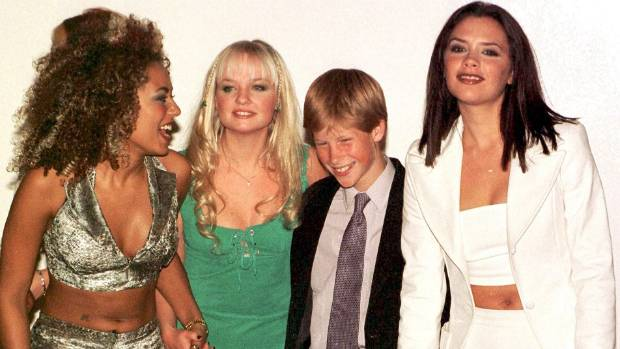 Prince Harry aged 13, with members of the Spice Girls