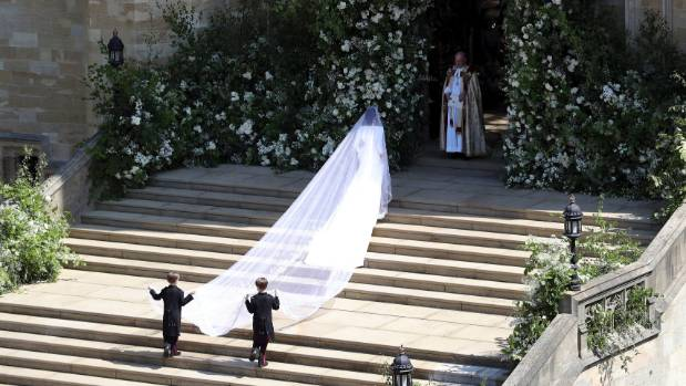 Meghan Markle arrives for the wedding ceremony at St George's Chapel.