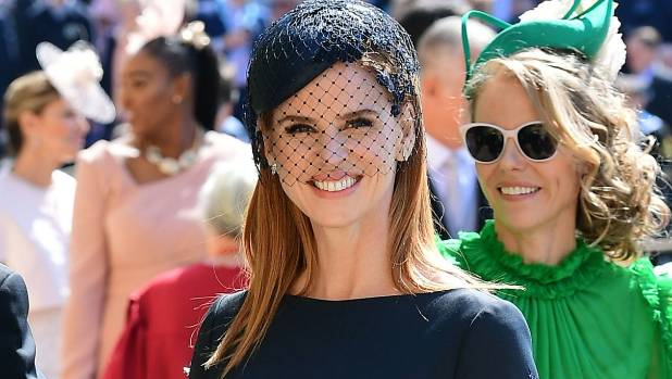 Actress Sarah Rafferty from Suits arrives at St George's Chapel at Windsor Castle before the wedding.
