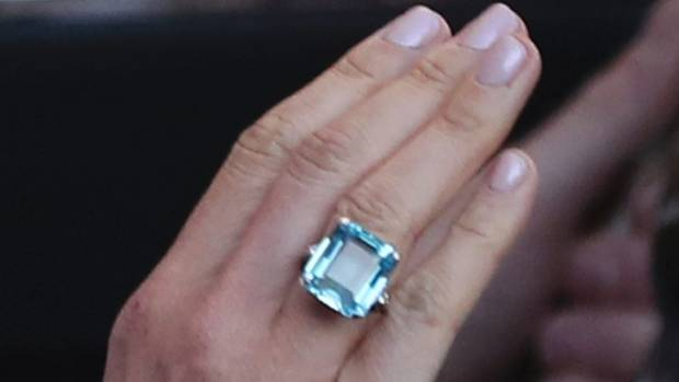 The ring worn by the newly married Duchess of Sussex, Meghan Markle, which belonged to Diana, Princess of Wales.