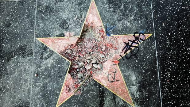 Image result for shattered Donald Trump walk of fame sar