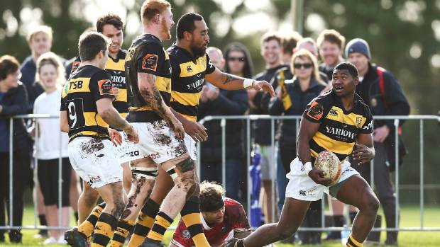 Taranaki wing Kiniviliame Naholo, right, torched Poverty Bay on debut before he was taken off at halftime.
