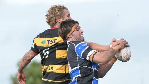 Sam Madams steals lineout ball from Jarrad Hoeata as Wanganui did themselves proud in their Shield challenge.
