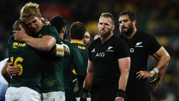 Kieran Read and Sam Whitelock digest the All Blacks' defeat to a jubilant Springboks in Wellington.