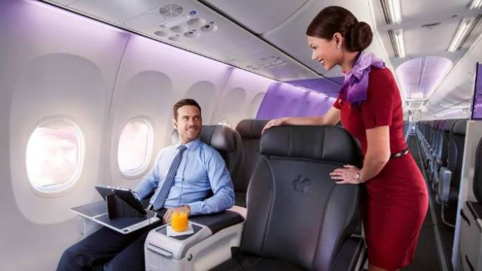 Virgin Australia's 737-800 have eight business class seats. Business and premium leisure customers are a key market for Virgin.