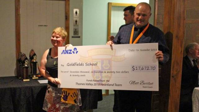 A cheque was handed to Goldfields School from money raised through the team's charity jerseys.