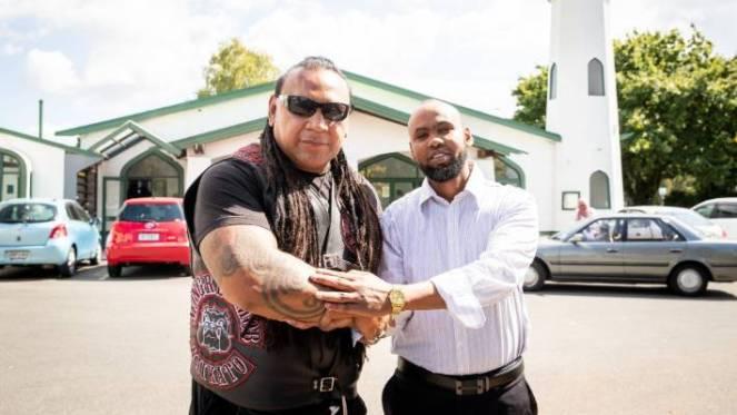 Mongrel Mob Waikato president Sonny Fatu with Hanad Ibrahim from Jamia Masjid Mosque in Hamilton.